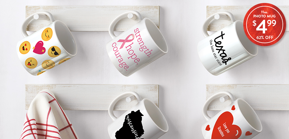 62% off 11 oz. Photo Mugs