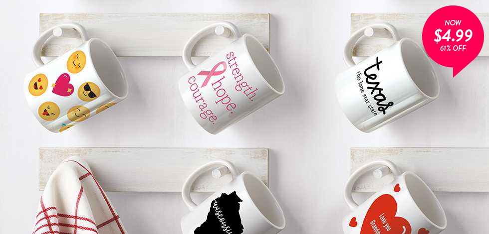 61% off 11 oz. Photo Mugs