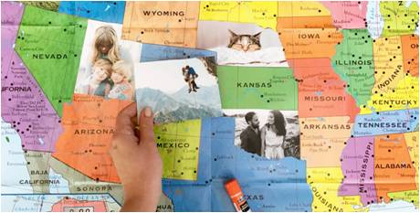 Transform your photo prints into a map our your travels.