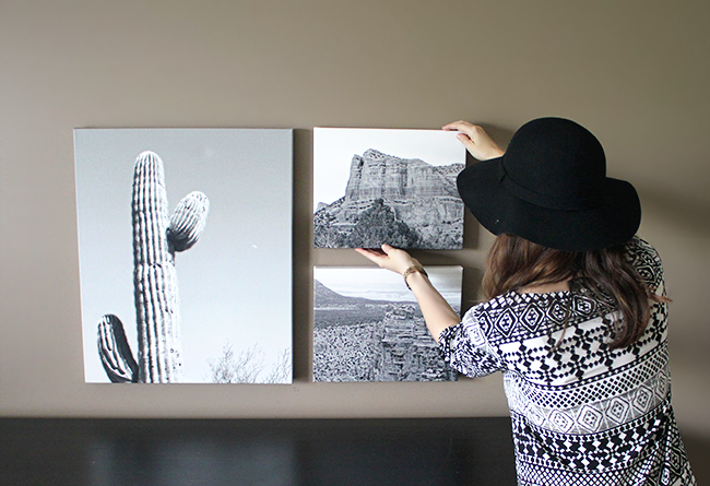 Create visual interest on your wall with personalized photo canvases printed in black & white.