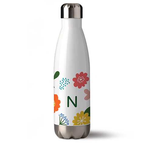 Bottle with flower texture and letter on it