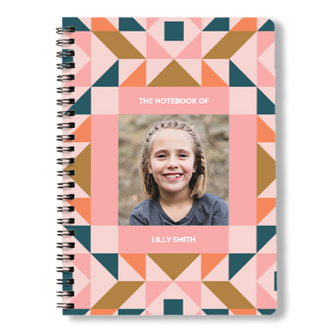 Spiral Book with girl in textured frame.