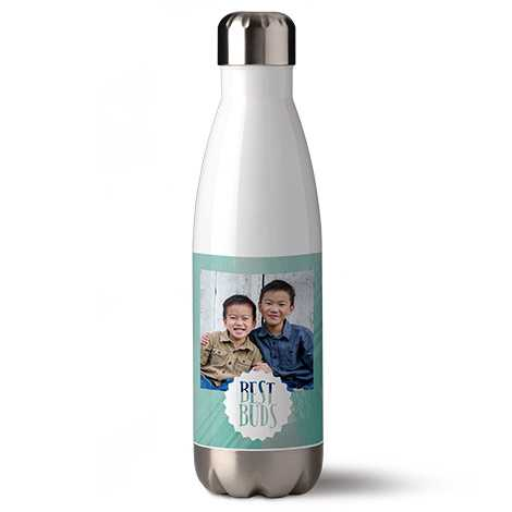 Bottle with a picture of best buds.