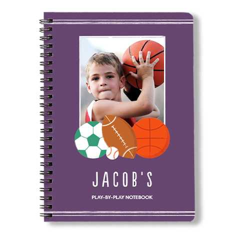 Spiral book with a sports player frame and a boy with basketball.