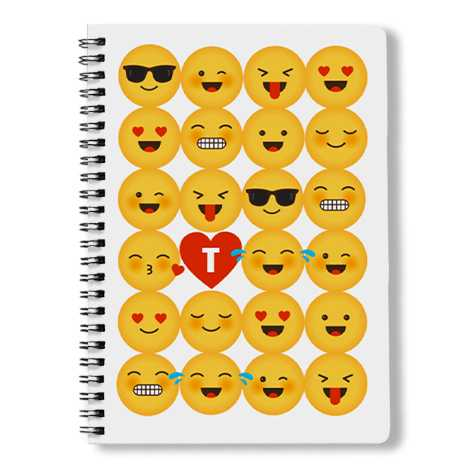 Spiral book with emoji cover on it
