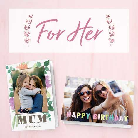 Image of a mum and happy birthday cards