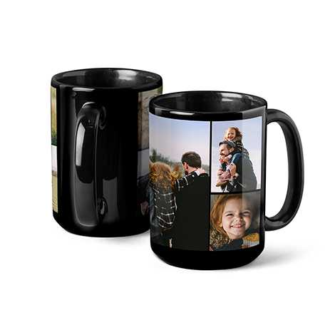 Icon Collage Photo Coffee Mug, 15oz, Black