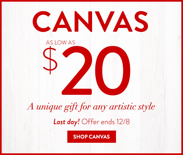 Canvases as low as $20