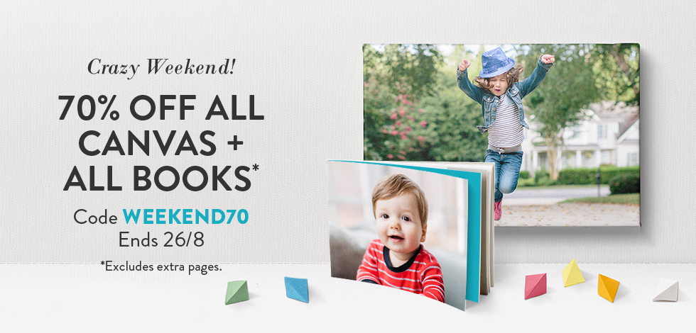 70% off all Canvas and Books*