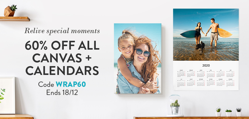 60% off all Canvas Prints and Calendars