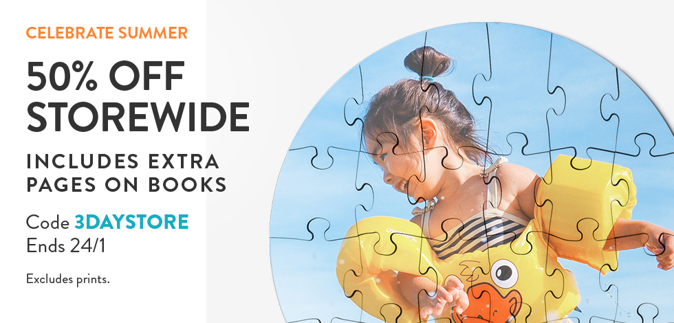 50% off storewide (including extra pages on books)