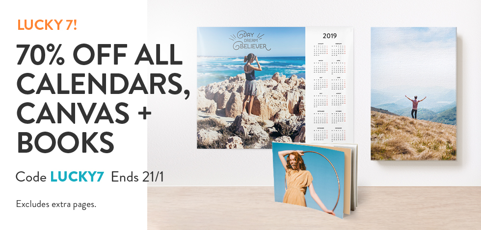 70% off all Calendars, Canvas and Books