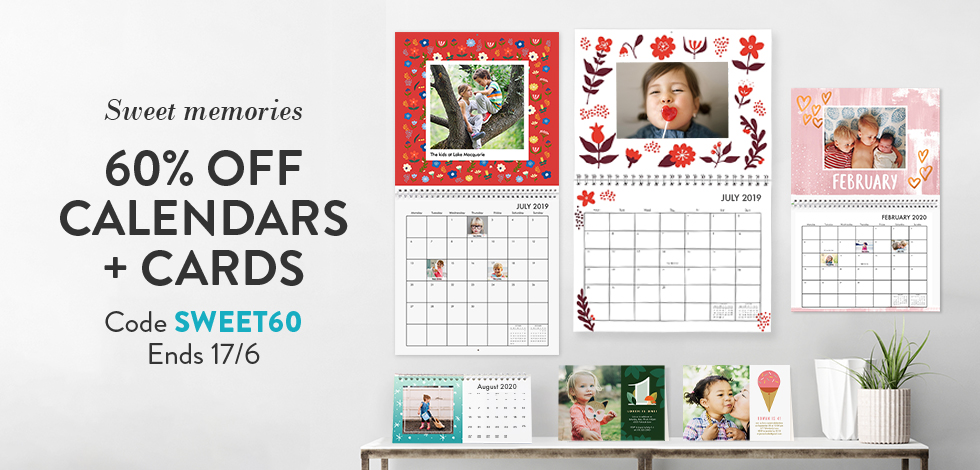 60% off all Calendars and Cards