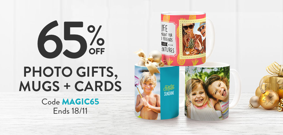 65% off Photo Gifts, Mugs and Cards