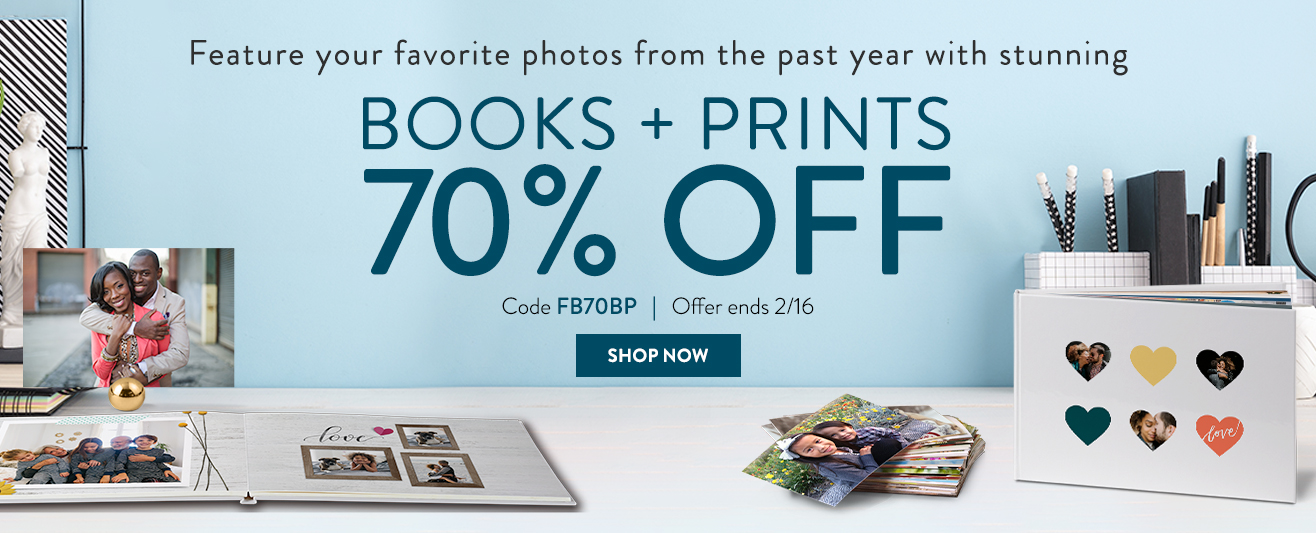 65% off prints, books, cards, and canvas