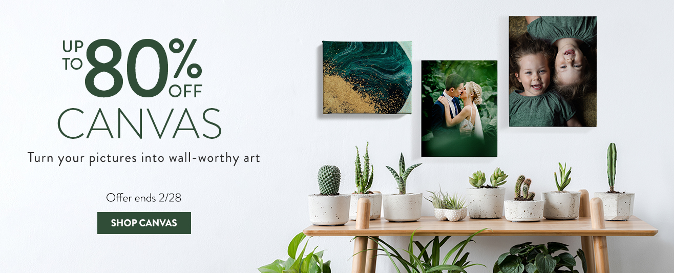Up to 80% off Unframed Canvas Prints