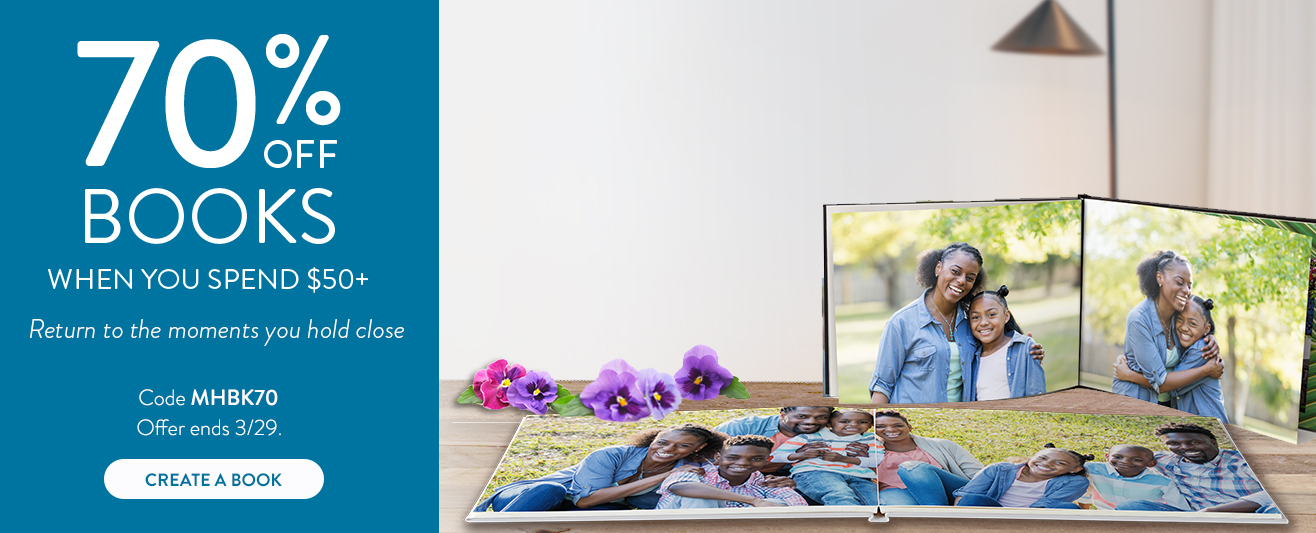 70% off Photo Book orders $50 or more