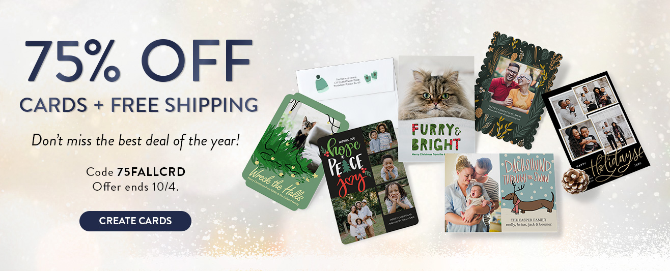 75% off Cards + FREE shipping