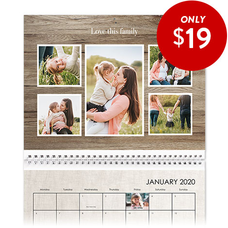 28x35cm Wall Calendar with a full photo image on top and monthly grid below