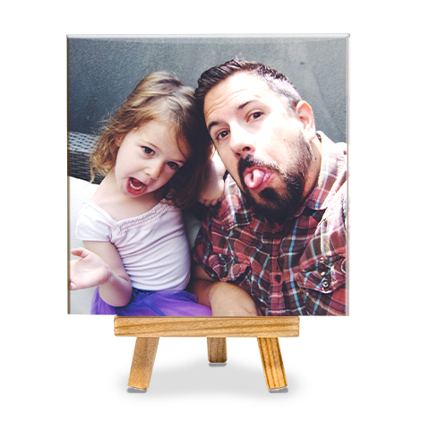 Photo tile with father and daughter