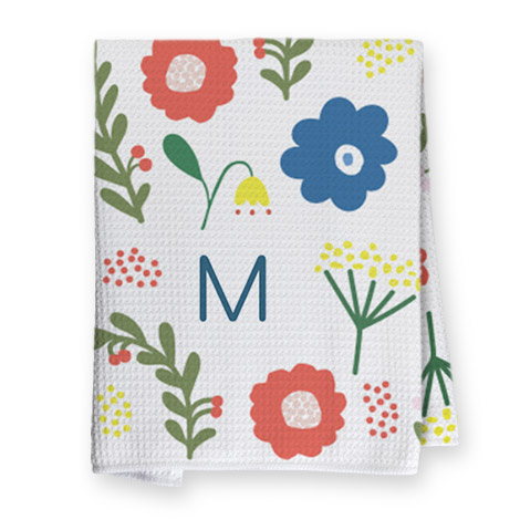 Folk Floral tea towel