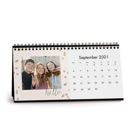 Silver and Gold Confetti Desk Calendar
