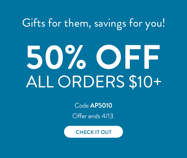 50% off all orders $10 or more