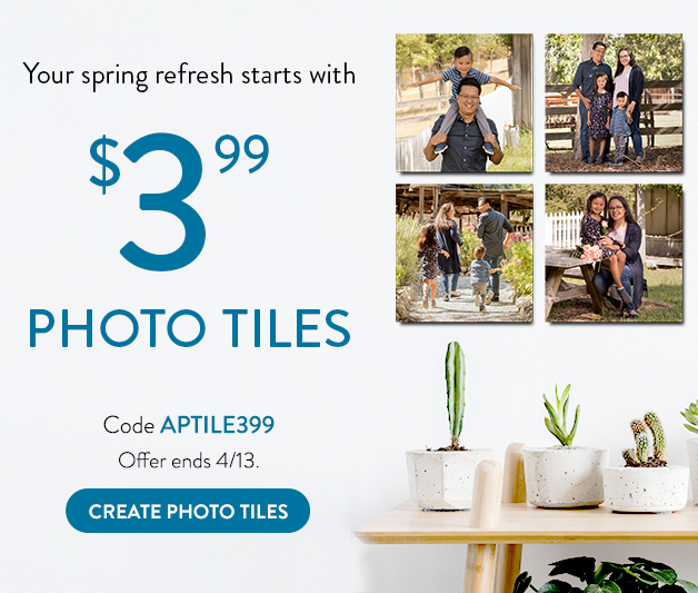 8x8 photo tile for $3.99