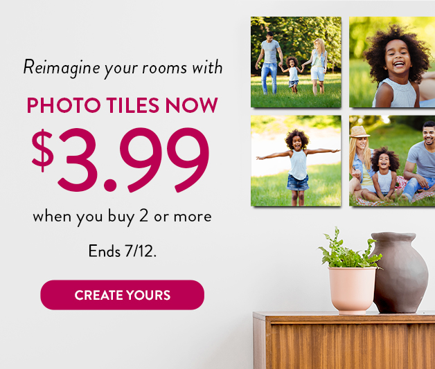 8x8 Photo Tiles at $3.99 each for 2 or more