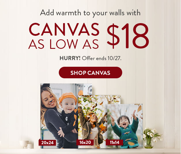 Canvas as low as $18