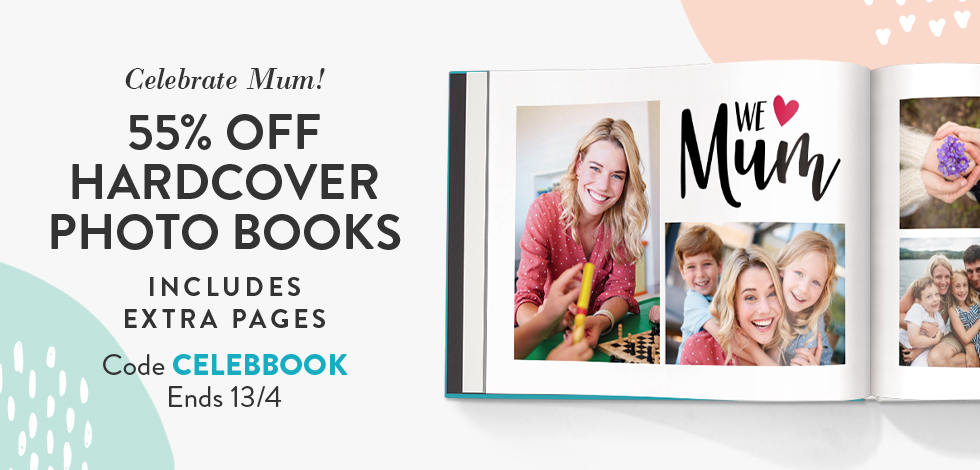 55% off Hardcover Books (inc. extra pages)