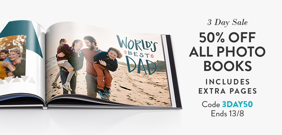 50% off all Photo Books (inc. extra pages)