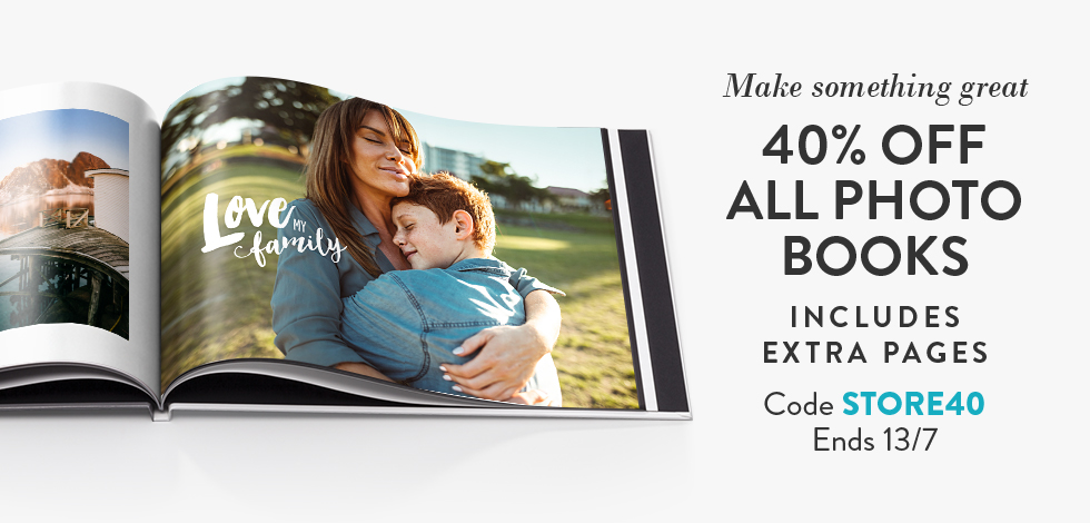 40% off all Photo Books (inc. extra pages)