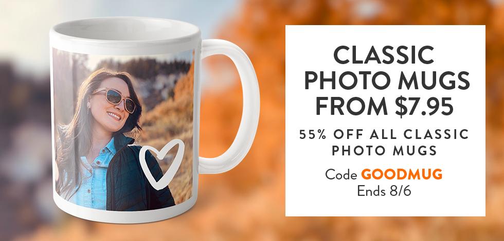 55% off all Classic Photo Mugs