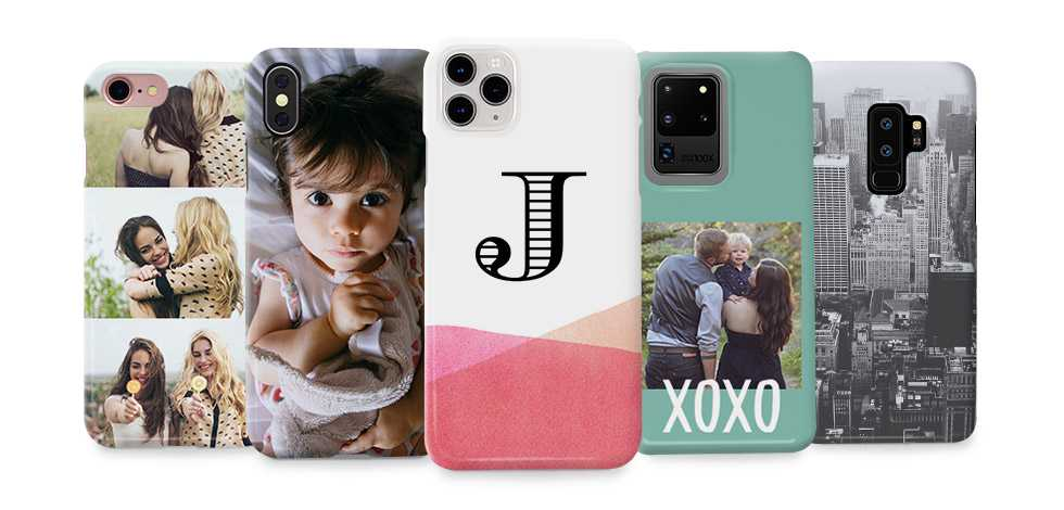 five phone cases with multiple designs
