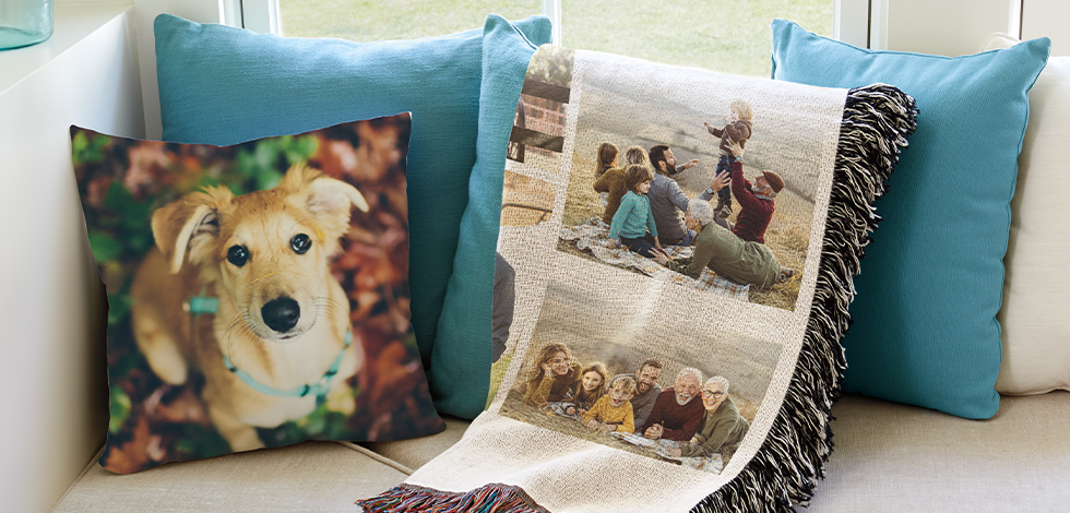 Customize pillows + blankets to keep them near