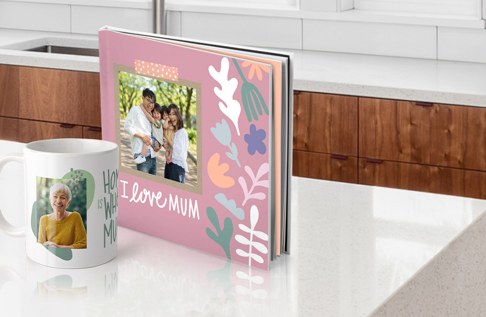 Celebreate Mum with a photo book for $9.95 or her own coffee mug for $6.95