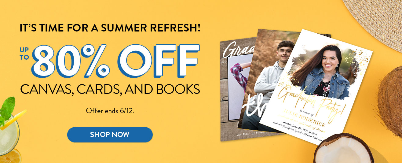 Up to 80% off Canvas, Cards, Books