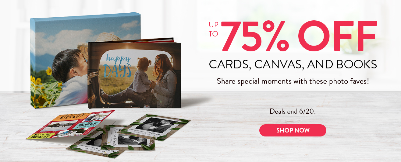 Up to 75% off Canvas, Cards, Books