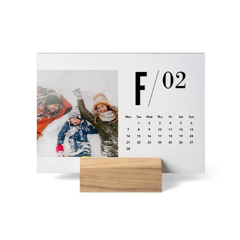 Wood Block Desk Calendar