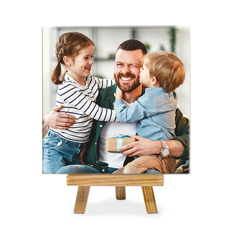 /Ceramic photo tile with father and daughter
