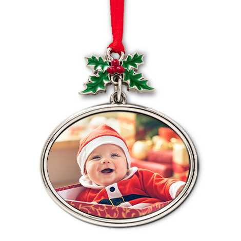 Metal Holly Ornament