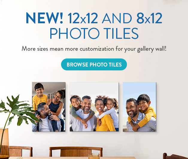 New Photo Tile sizes! Now 8x12 and 12x12