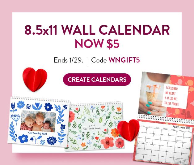 8.5x11 Wall Calendar now $5
