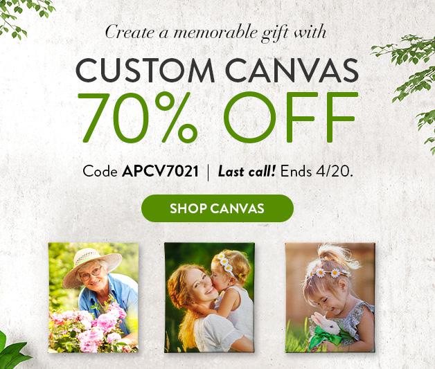 70% off  Custom Canvas Prints
