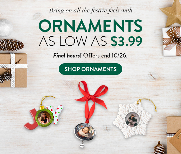 Ornaments as low as $3.99