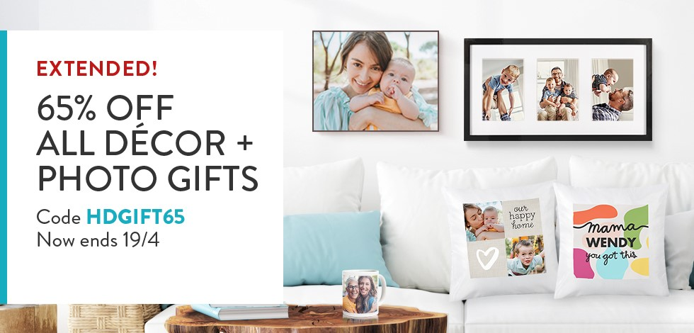 65% off all Home Decor + Photo Gifts