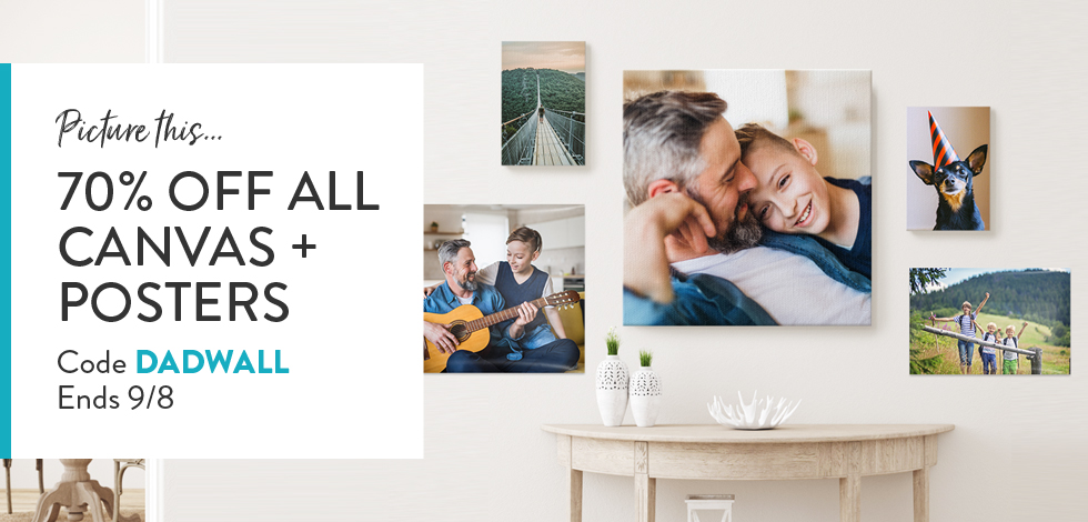 70% off all Canvas + Posters
