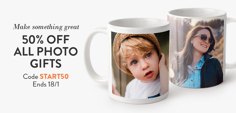 50% off all Photo Gifts + Mugs