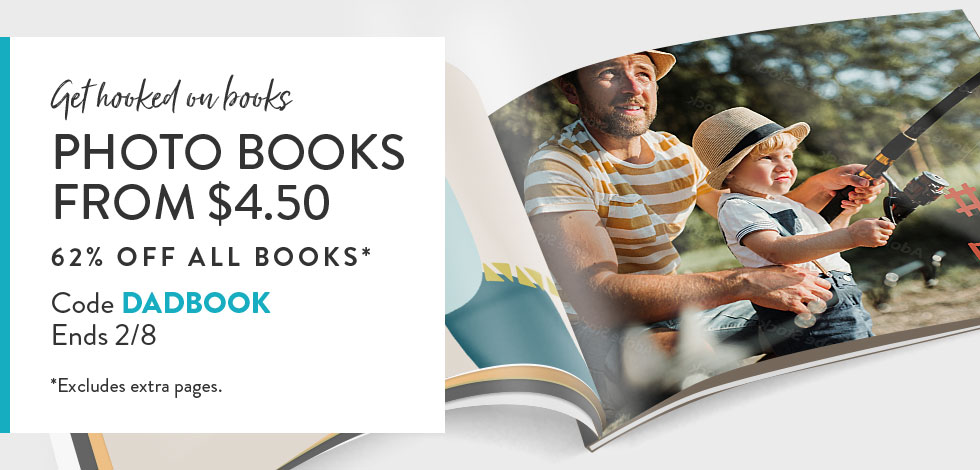 62% off all Photo Books. *ex. extra pages